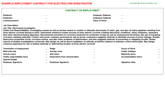 Electrolysis Investigator Employment Contract Template