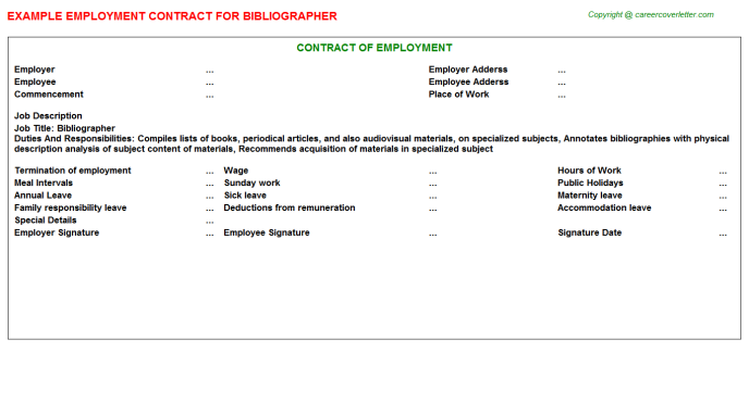 Bibliographer Job Employment Contract Template
