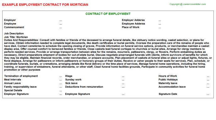 Mortician Employment Contract Template