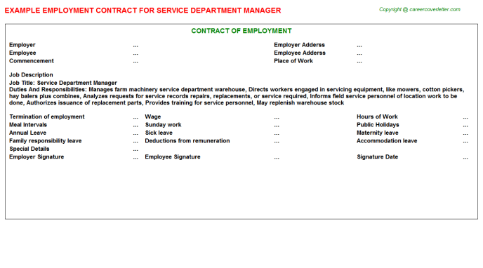 Service Department Manager Employment Contract Template
