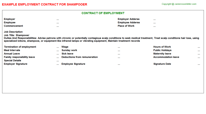 Shampooer Employment Contract Template