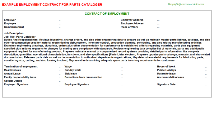 Parts Cataloger Employment Contract Template