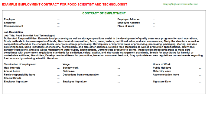 Food Scientist And Technologist Job Employment Contract Template