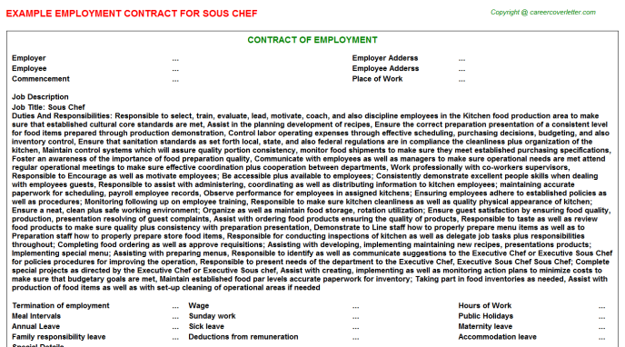 Sous Chef Employment Contract Template