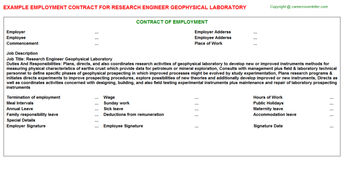 Research Engineer Geophysical Laboratory Employment Contract Template