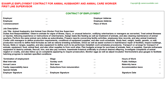 Animal Husbandry And Animal Care Worker First Line Supervisor Employment Contract Template