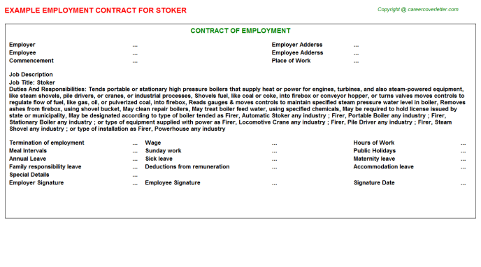 Stoker Job Employment Contract Template
