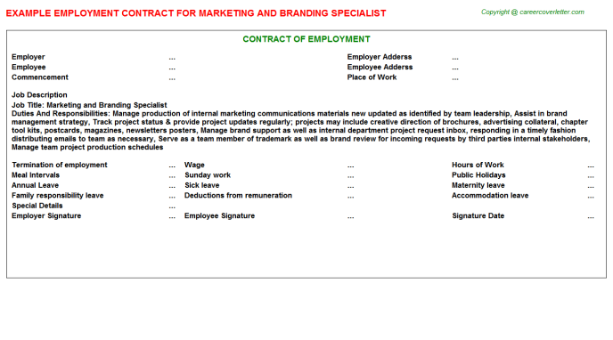 Marketing and Branding Specialist Employment Contract Template