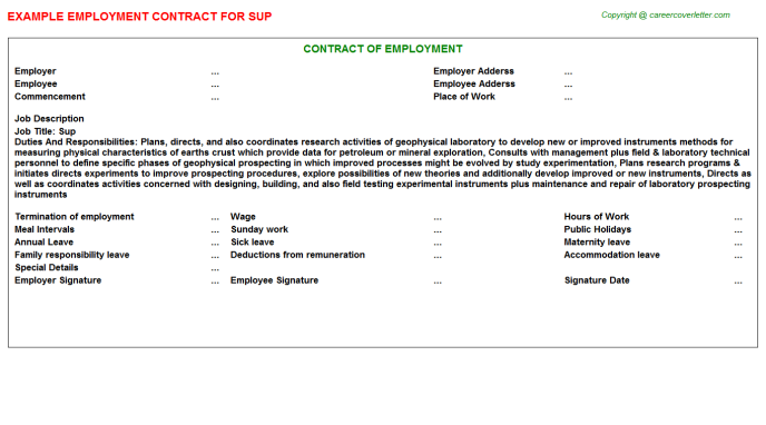 Sup Employment Contract Template