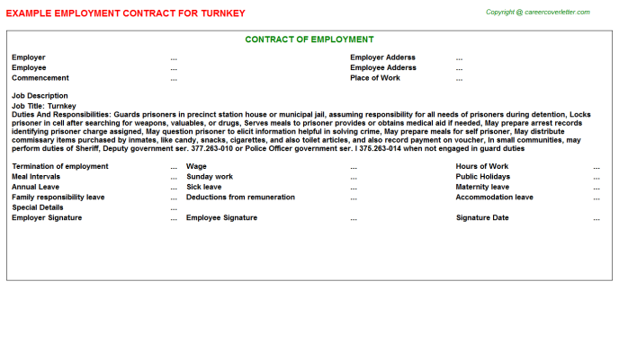 Turnkey Job Employment Contract Template