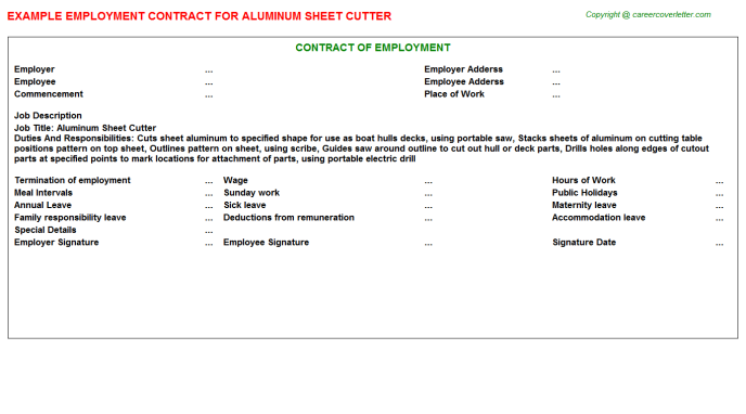 Aluminum Sheet Cutter Employment Contract Template