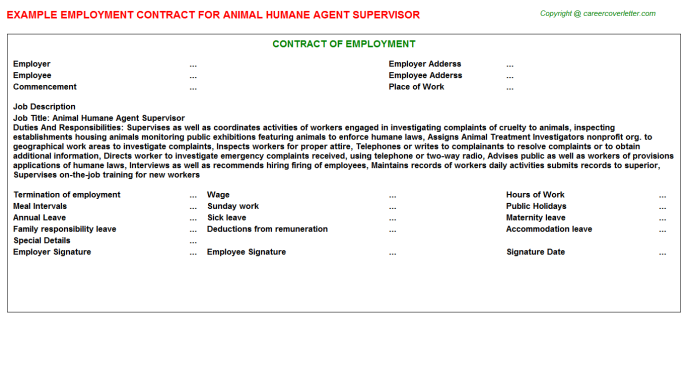 animal humane agent supervisor employment contract template