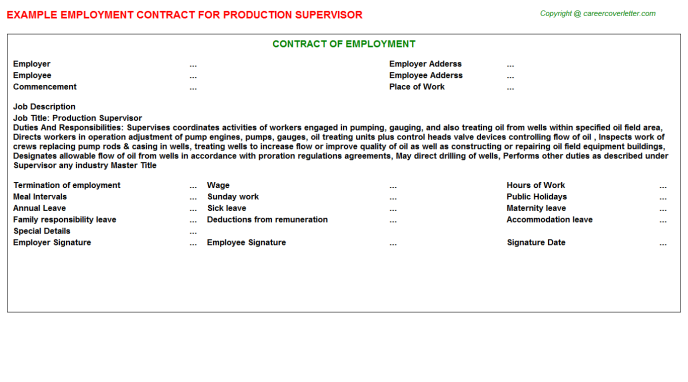 Production Supervisor Employment Contract Template