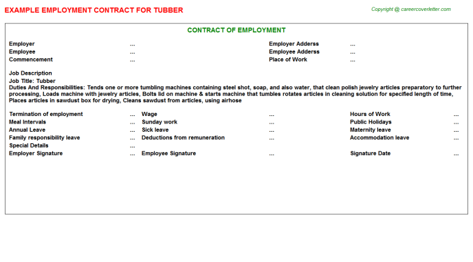 Tubber Employment Contract Template