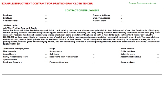 Printing Gray cloth Tender Employment Contract Template