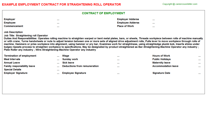 Straightening Roll Operator Employment Contract Template