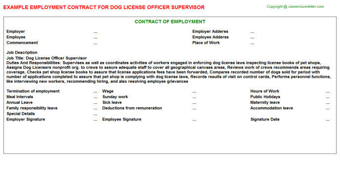 dog license officer supervisor employment contract template