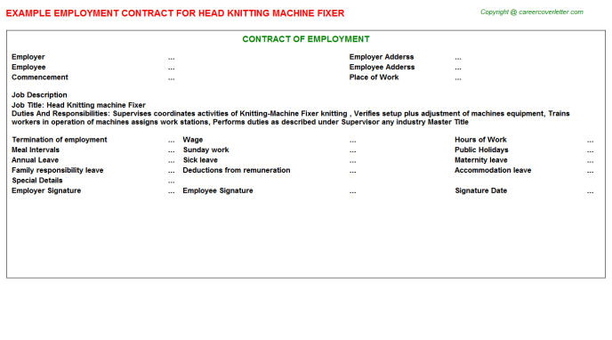 Head Knitting Machine Fixer Employment Contract Template