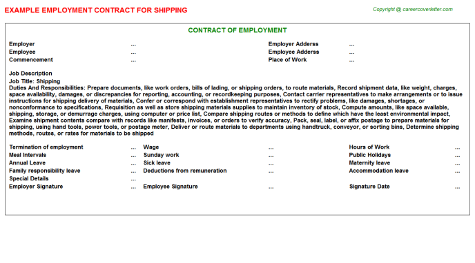Shipping Employment Contract Template