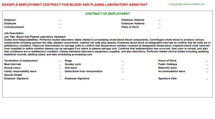 Blood And Plasma Laboratory Assistant Employment Contract Template