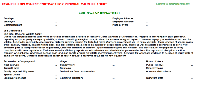 regional wildlife agent employment contract template