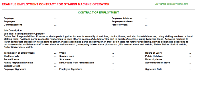 staking machine operator employment contract template