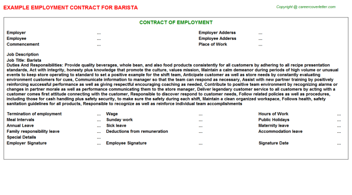 Barista Employment Contract Template