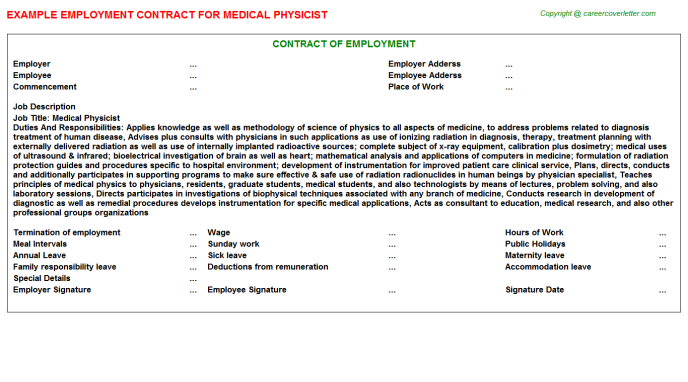 Medical Physicist Employment Contract Template