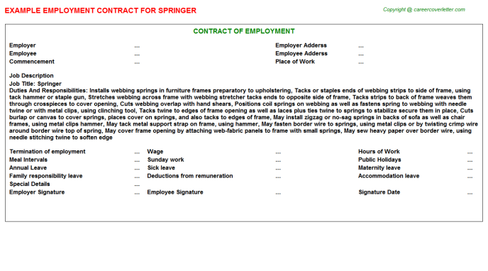Springer Job Employment Contract Template