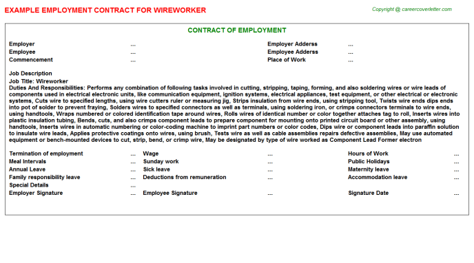 Wireworker Job Employment Contract Template