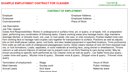 Cleaner Job Employment Contract Template