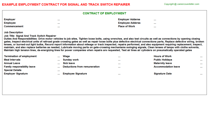 Signal And Track Switch Repairer Employment Contract Template