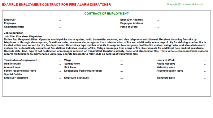 fire alarm dispatcher employment contract template