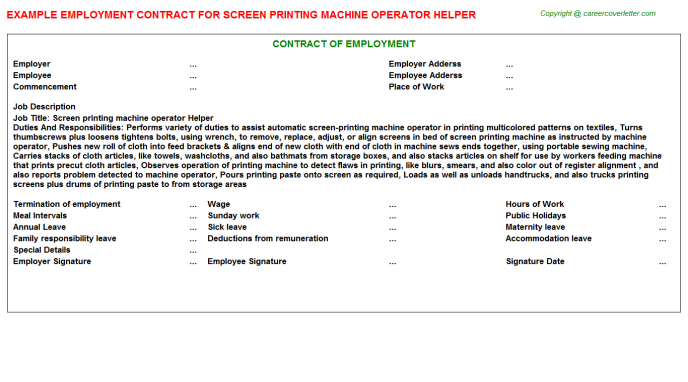 Screen Printing Machine Operator Helper Employment Contract Template