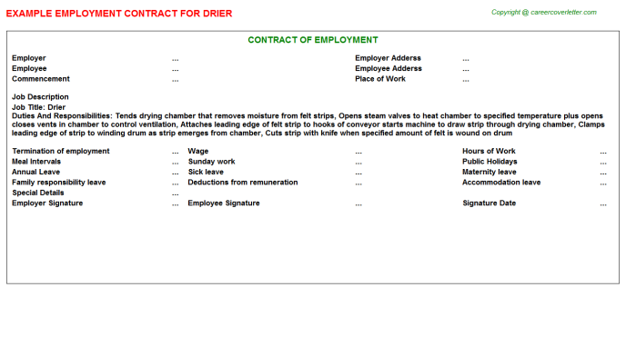 Drier Employment Contract Template