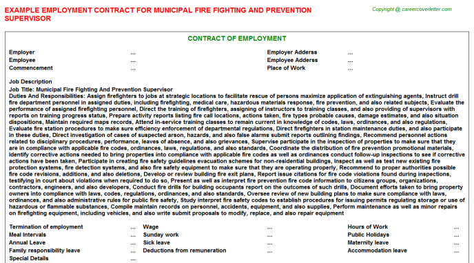 Municipal Fire Fighting And Prevention Supervisor Employment Contract Template