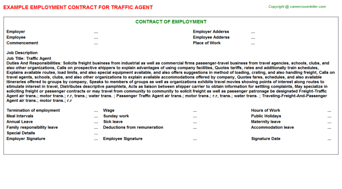 Traffic Agent Employment Contract Template