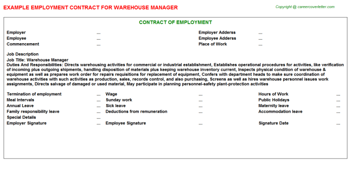 Warehouse Manager Employment Contract Template