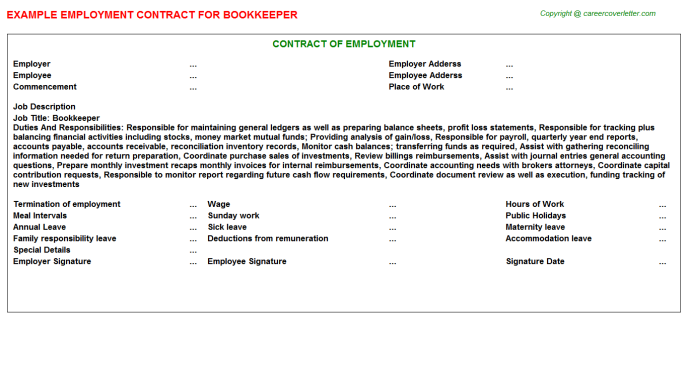 Bookkeeper Job Employment Contract Template