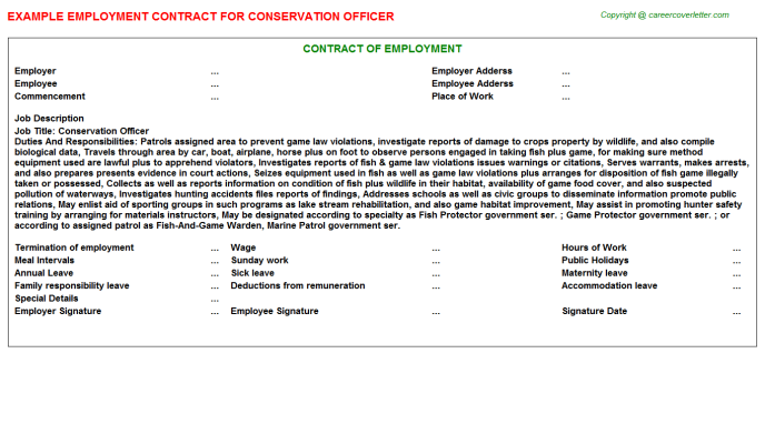 conservation officer employment contract template