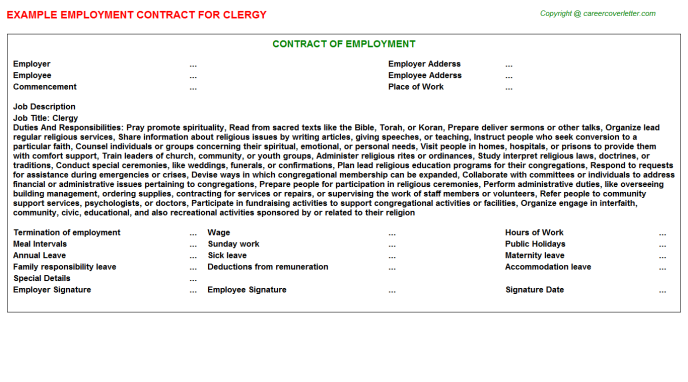 Clergy Job Employment Contract Template
