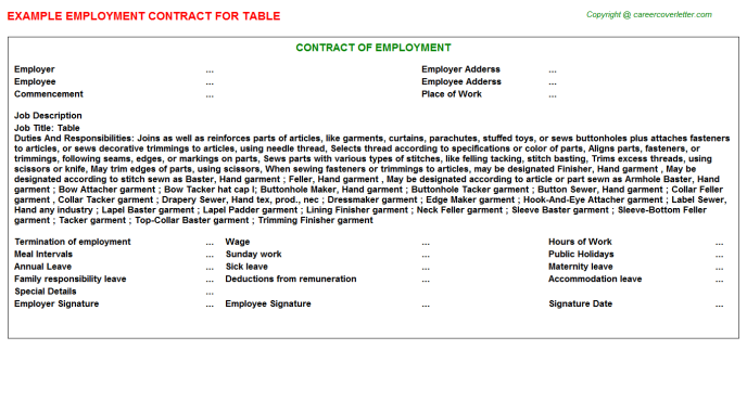 Table Job Employment Contract Template