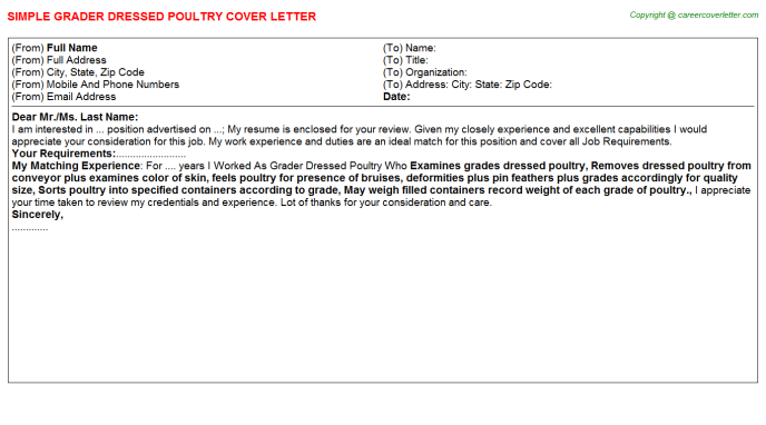 grader dressed poultry cover letter template