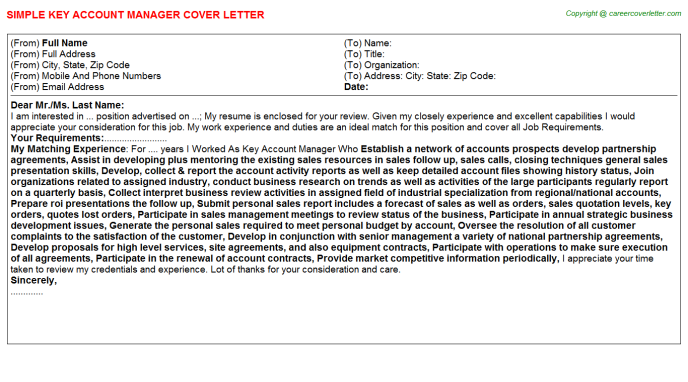 Key Account Manager Cover Letter Template