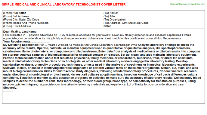 Medical And Clinical Laboratory Technologist Job Cover ...