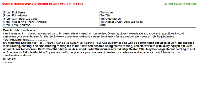 Supervisor Roofing Plant Cover Letter Template