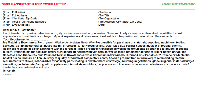 Assistant Buyer Job Cover Letter Template