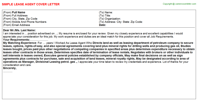 Lease Agent Job Cover Letter Template
