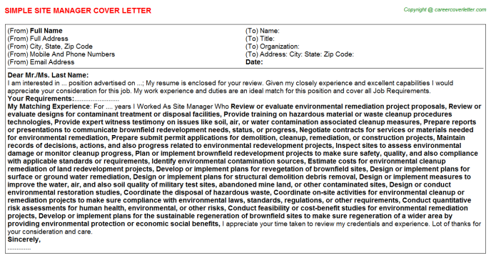 Site Manager Cover Letter Template