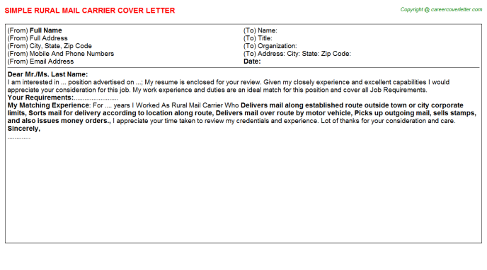 rural mail carrier cover letter